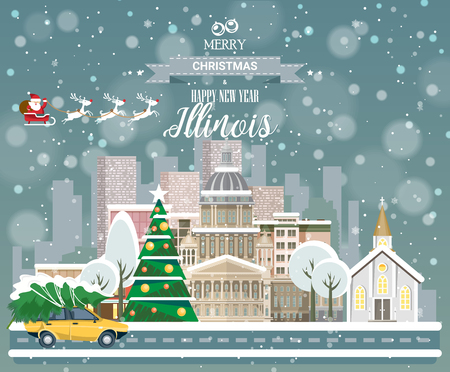 Merry Christmas and Happy New Year in Illinois. Greeting festive card from the USA. Winter snowing city with cute cozy houses and snowflakes. Illustration