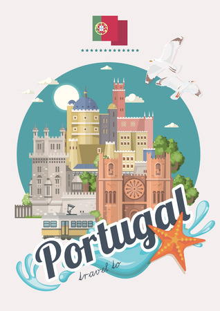 Portugal travel vector postcard in modern flat style with Lisbon buildings and portuguese souvenirs. Lisbon city 矢量图像