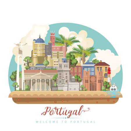 Portugal travel vector postcard in modern flat style with Lisbon buildings and portuguese souvenirs. Lisbon city