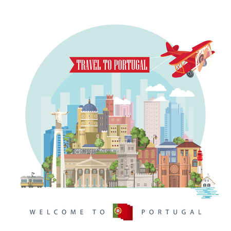 Portugal travel vector postcard in modern flat style with Lisbon buildings and portuguese souvenirs. Lisbon city Иллюстрация
