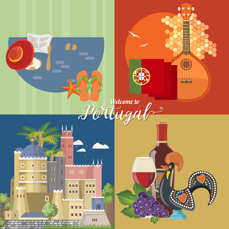 Portugal travel vector postcard in modern flat style with Lisbon buildings and portuguese souvenirs. Lisbon city 스톡 콘텐츠 - 110519930