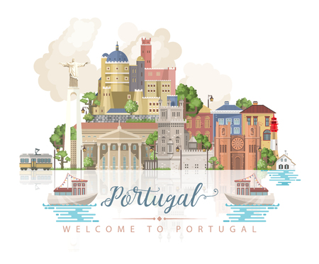 Portugal travel vector postcard in modern flat style with Lisbon buildings and portuguese souvenirs. Lisbon city Ilustração