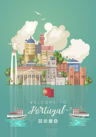 Portugal travel vector postcard in modern flat style with Lisbon buildings and portuguese souvenirs. Lisbon city 일러스트
