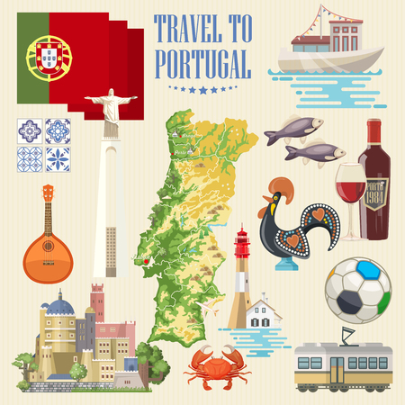 Portugal travel vector postcard in modern flat style with Lisbon buildings and portuguese souvenirs Иллюстрация