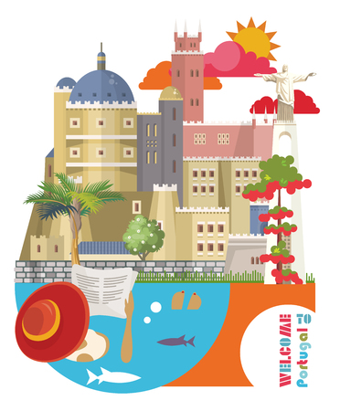 Portugal travel vector postcard in modern flat style with Lisbon buildings and portuguese souvenirs 일러스트