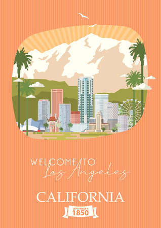 Los Angeles vector city template. California poster in colorful flat style. Illusztráció