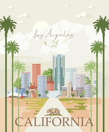 Los Angeles-Vektorstadtschablone. Kalifornien-Poster im bunten flachen Stil.