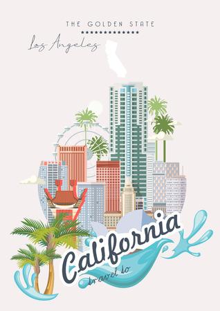 Modèle de ville vectorielle de Los Angeles. Affiche californienne dans un style plat coloré.