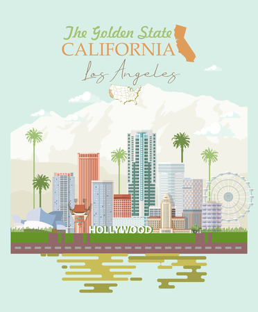Los Angeles vector city template. California poster in colorful flat style. Ilustração