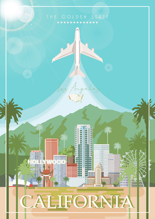 Los Angeles vector city template. California poster in colorful flat style. 写真素材 - 110520916