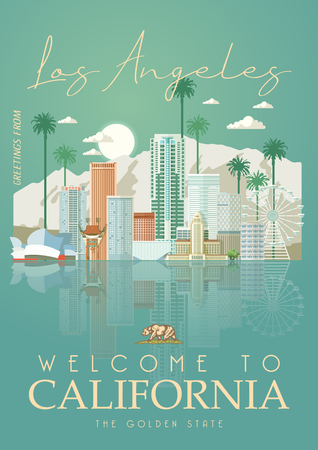 Los Angeles vector city template. California poster in colorful flat style. 向量圖像