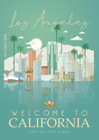 Modèle de ville vectorielle de Los Angeles. Affiche californienne dans un style plat coloré. Vecteurs