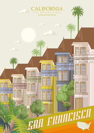 Colourful painted Victorian houses of the Haight Ashbury district in San Francisco. Vector travel poster with California landmarks. 写真素材 - 112879402
