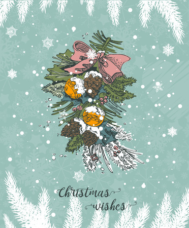 Christmas card with warm wishes in the vintage hand drawn style. Cute snowflakes and pine tree branches under the snow. Illustration