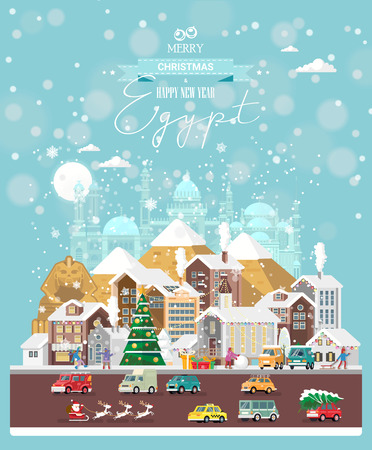 Christmas wishes from Egypt. Modern vector greeting card in flat style with snowflakes, winter city, decorations, cars and happy people.
