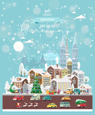 Christmas wishes from Germany. Modern vector greeting card in flat style with snowflakes, winter city, decorations, cars and happy people. Illustration