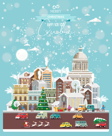 Christmas wishes from Cuba. Modern vector greeting card in flat style with snowflakes, winter city, decorations, cars and happy people.
