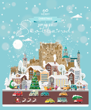 Christmas wishes from Scotland. Modern vector greeting card in flat style with snowflakes, winter city, decorations, cars and happy people. Illustration