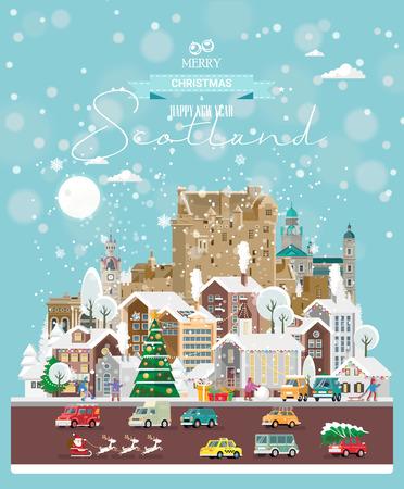 Weihnachtsgrüße aus Schottland. Moderne Vektorgrußkarte im flachen Stil mit Schneeflocken, Winterstadt, Dekorationen, Autos und glücklichen Menschen. Vektorgrafik