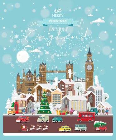 Christmas wishes from England. Modern vector greeting card in flat style with snowflakes, winter city, decorations, cars and happy people.