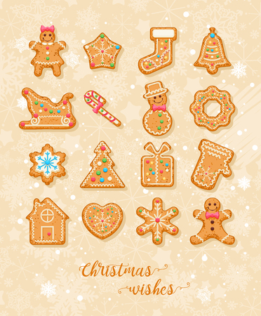 Christmas wishes. Cute Xmas card with colorful funny gingerbread on background with snowflakes. Vector greeting poster. Illustration