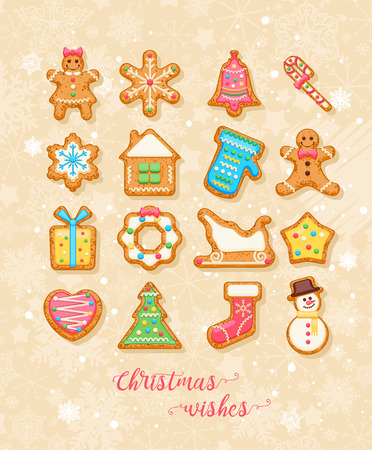 Christmas wishes. Cute Xmas card with colorful funny gingerbread on background with snowflakes. Vector greeting poster.