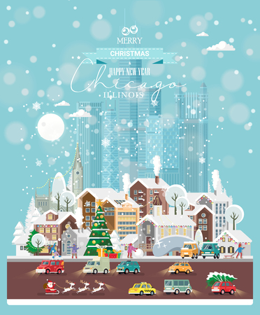 Christmas wishes. Cute Xmas card with colorful snowy Chicago. Snowflakes in the air. Street with people and cars. Vector greeting poster.