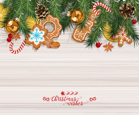 Vector Christmas background with sweet gingerbreads, decorations, tangerines and snowflakes.