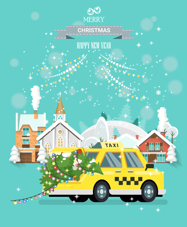 Snowy Christmas. City street with taxi car carrying Xmas tree with lights. Standard-Bild - 115232208