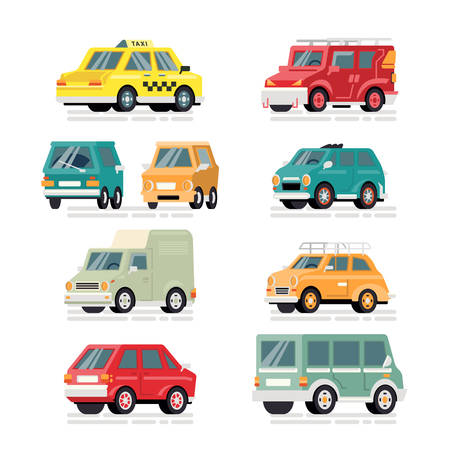 Set of vector colorful cars in modern style. Isolated background  イラスト・ベクター素材