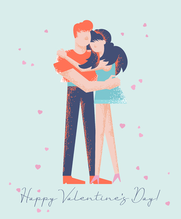 Happy Valentines Day. Vector greeting card with couple in love. Modern style