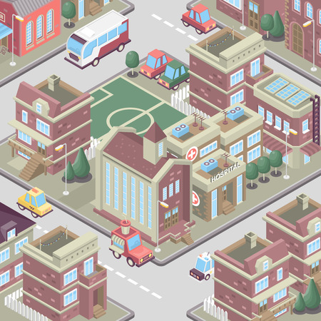 City district in isometric 3d style. Vector town. Set of buildings, houses, townhouses, multi-family homes, shop, bar, school, hospital, car parking.  イラスト・ベクター素材