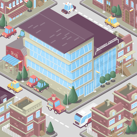 City district in isometric 3d style. Vector town. Set of buildings, houses, townhouses, multi-family homes, shop, bar, school, hospital, car parking. Çizim