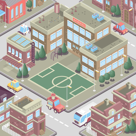 City district in isometric 3d style. Vector town. Set of buildings, houses, townhouses, multi-family homes, shop, bar, school, hospital, car parking. Illustration