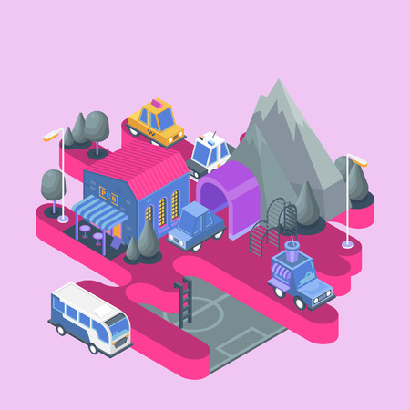 Isometric view. Modern city building. Town block with colorful cafe and cars.  イラスト・ベクター素材