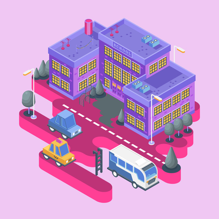 Isometric view. Modern city building. Town block with colorful school and cars.