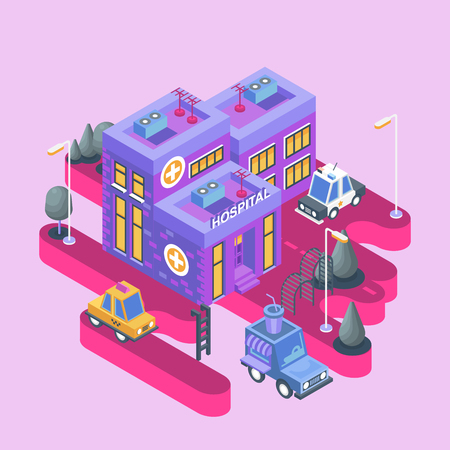 Isometric view. Modern city building. Town block with colorful hospital and cars.