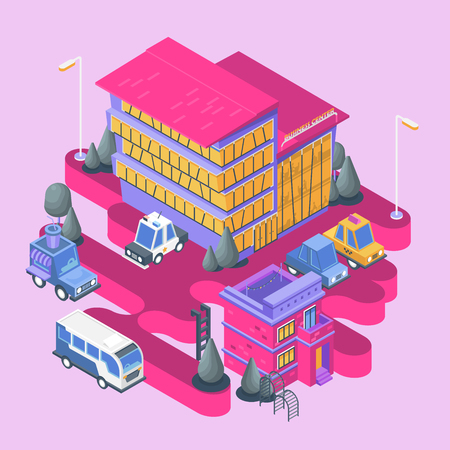 Isometric view. Modern city building. Town block with colorful business center and cars.