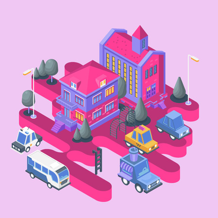 Isometric view. Modern city building. Town block with colorful house, church and cars. Illustration