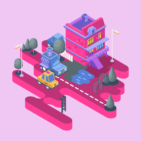 Isometric view. Modern city building. Town block with colorful house and cars.