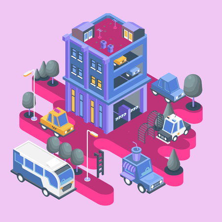Isometric view. Modern city building. Town block with colorful parking and cars.