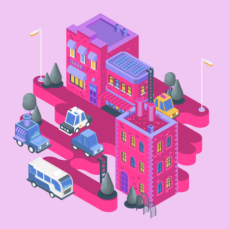 Isometric view. Modern city building. Town block with colorful houses, shop and cars.