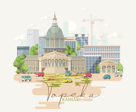 Kansas is a US state. Vector concept of tourist postcard and souvenir. Beautiful places of the United States of America on posters.