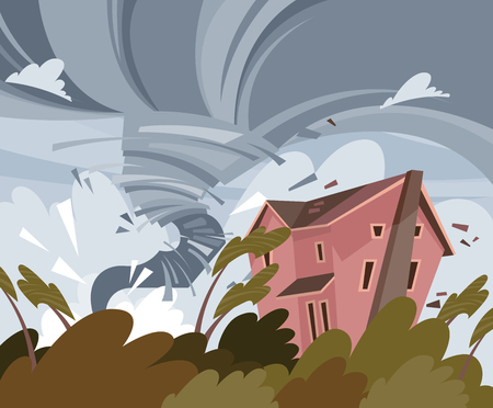 Hurricane on colorful vector poster with the damaged building and trees. Tornado