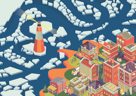 Isometric northern city on the vector poster. Detailed buildings and background.