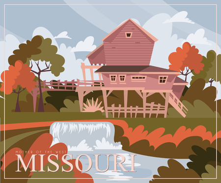 Missouri is a US state. Vector concept of tourist postcard and souvenir. Beautiful places of the United States of America on posters.