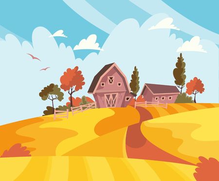 Farming landscape concept. Vector illustration with barn, houses and country yard. American farm in the summer. Poster of organic fresh food. Foto de archivo - 118976895