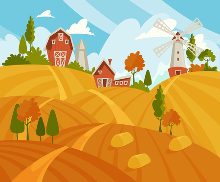 Farming landscape concept. Vector illustration with barn, houses and country yard. American farm in the summer. Poster of organic fresh food. Foto de archivo - 118976888