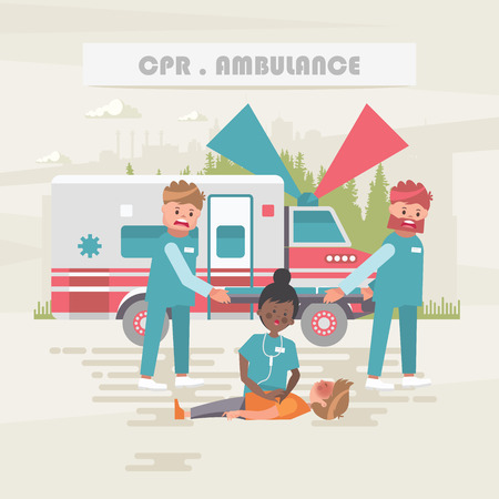 CPR. Ambulance. Medical vector concept. Healthcare and treatment illustration. Standard-Bild - 118976945