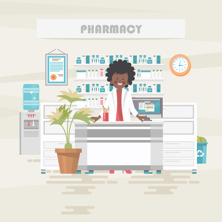 Pharmacy. Medical vector concept. Healthcare and treatment illustration. Standard-Bild - 118976947